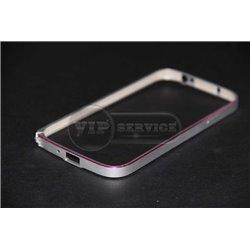 S4 бампер на торцы, металлический, серебристый с розовой линией