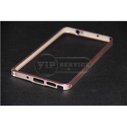 Note 3 бампер на торцы, металлический, бежевый с розовой линией
