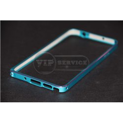 Note 3 бампер на торцы, металлический, голубой