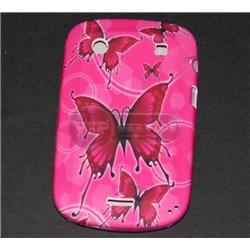 Blackberry 9900 чехол-накладка, бабочки, силиконовый, розовый фон
