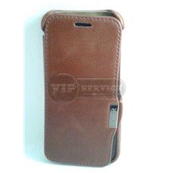 One M8 чехол-книжка iCarer, кожаный, со слотом для пластиковой карты, коричневый