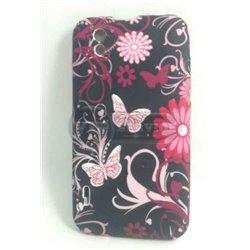 Optimus Black P970 чехол-накладка, бабочки и цветы, силиконовый, черный фон