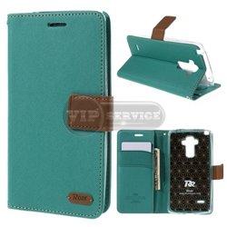 G4 Stylus чехол-книжка Roar, с двумя слотами для пластиковых карт, карман, магнитная заклёпка, матерчатый, лазуритовый