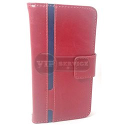 Galaxy A3 чехол-книжка Luxury fashion (noble quality), кожаный на магнитной застежке с лотками для пластиковых карт, красный