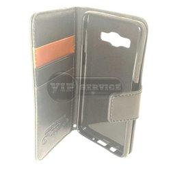 Galaxy A3 чехол-книжка Luxury fashion (noble quality), кожаный на магнитной застежке с лотками для пластиковых карт, черный