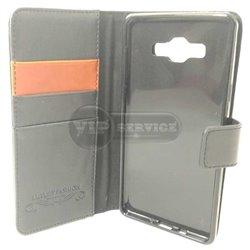 A7 чехол-книжка Luxury Fashion, кожаный, силиконовая основа, черный