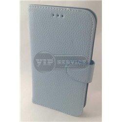 Grand чехол-книжка Mercury, экокожа, магнитная заклепка,со слотами для пластиковых карт, серо-голубой