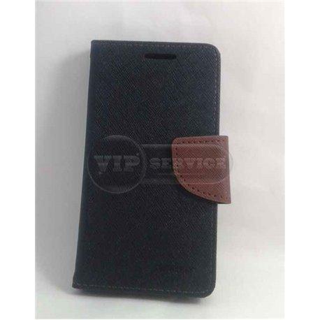 Z3 mini чехол-книжка Mercury, со слотами для пластиковых карт, на магнитной застежке, экокожа, черный