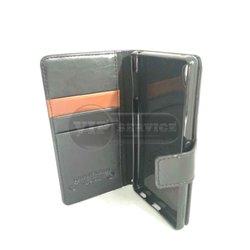 чехол-книжка Sony Z4 Luxury Fashion со слотами для пластиковых карт на магнитной застежке силиконовая основа черный кожаный